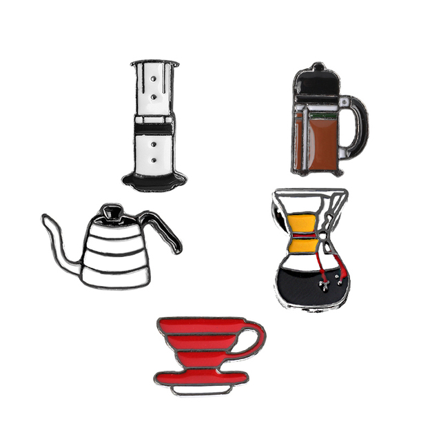 US $2 24 49% OFF|Pin Set Badge Punch Pot AeroPress Chemex Filter Bowl  Coffee Enamel Pins Shirt Bag Hat Decoration Jewelry Coffee Lovers Gift-in