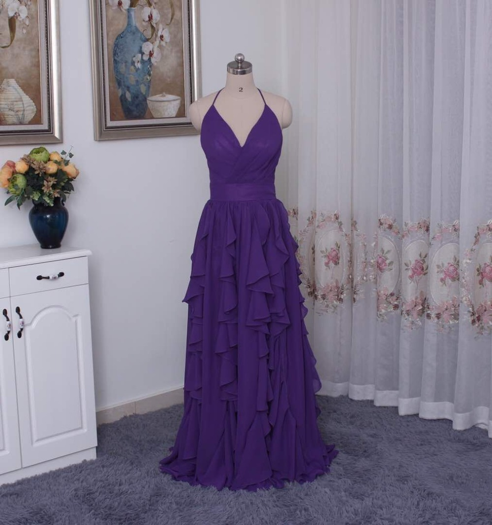 Chiffon Purple Halter Neckline   Bridesmaid     Dress   with Cascading Skirt VW360326 Wedding Party   Dress   Formal   Dresses