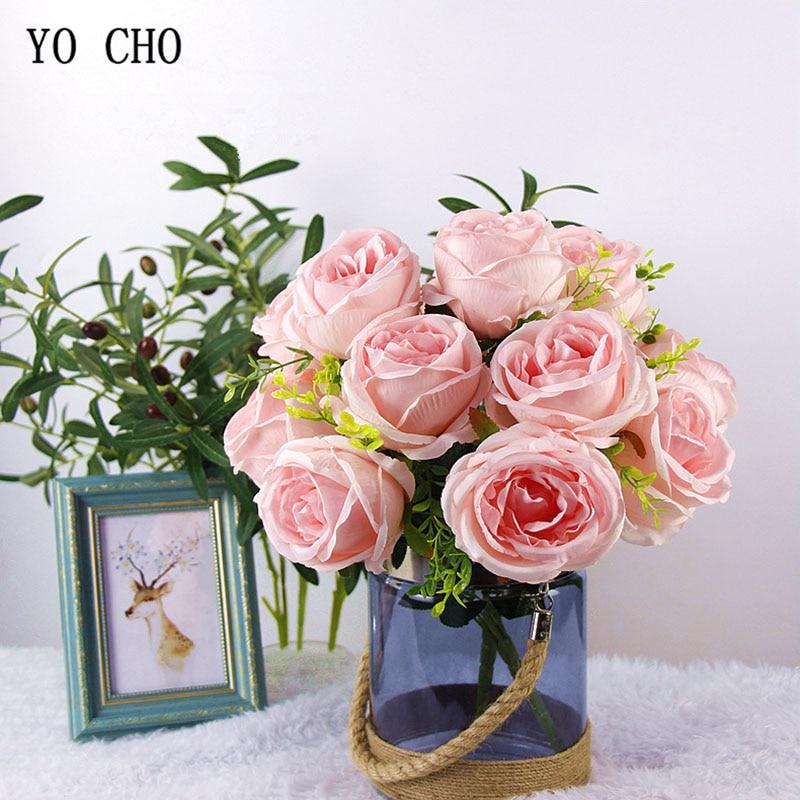YO CHO Bridal Wedding Bouquet Real Touch Silk Rose Pink White Flower Arrangement DIY Home Party Prom Decoration Wedding Supplies