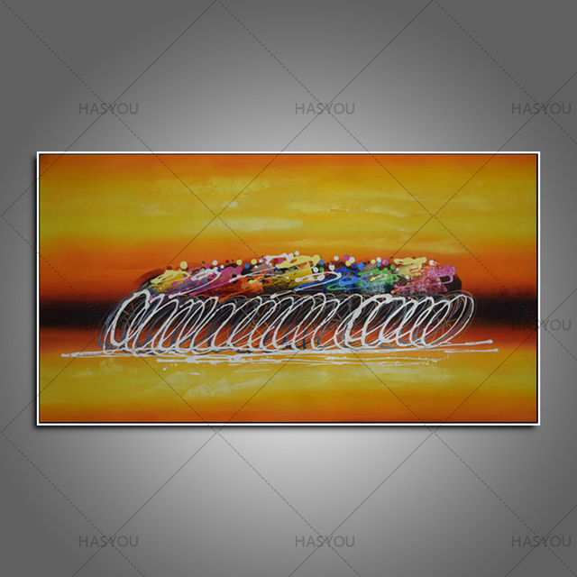hand painted Wall picture Yellow color Bicycle Race abstract art Oil ...