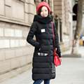 2016 Winter New Fashion Medium Long Size Over Knee Keep Warm Slim Long Sleeve Hooded Solid Color Large Size Women Down Coat