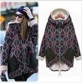 Женская мода зима куртки пальто плюс бархат личности плед ватные зимняя куртка плюс размер долго дизайн хлопка-ватник