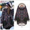 Moda das mulheres casacos de inverno além de veludo personalidade xadrez amassado inverno jaqueta plus size projeto de longo algodão-acolchoado jacket