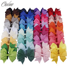 20-40pcs Colors 3inch Solid Grosgrain Ribbon Bows WITH Clip Girls' Boutique PinWheel Hair Clip Kids Hair Accessories()