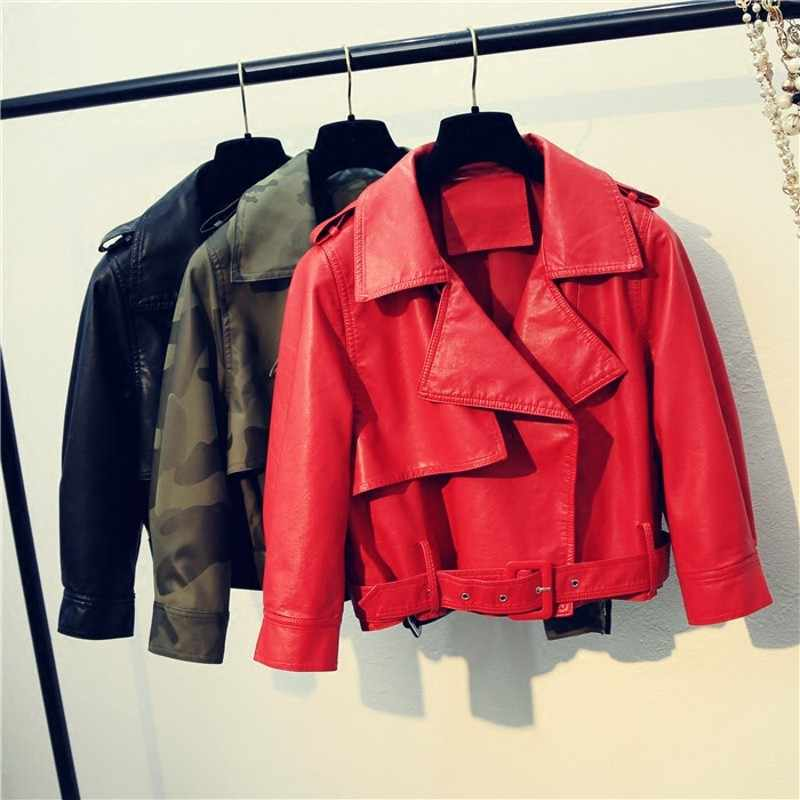 9394507d01b Leather Jacket Women Sheepskin Coat Autumn 2018 Vintage Red Black Jacket  Women Plus Size Female Jacket