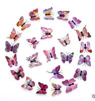 wholesale factory outlet 6cm simulation blue purple butterfly colour dimensional home decoration 3D refrigerator famous world