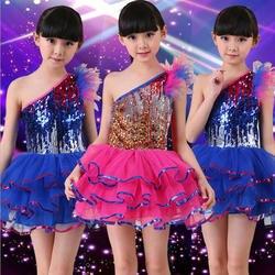 Синий блестками Обувь для девочек Современный Джаз танцевальная одежда платье Дети Костюмы для бальных танцев Балетные костюмы партии
