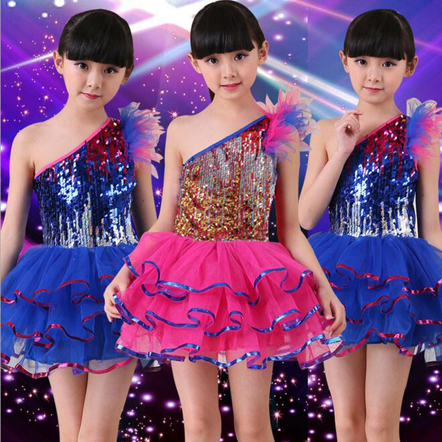 53ade8a155e7 Blue Sequined Girls Modern Jazz Dancewear Dress kids Ballroom Ballet ...