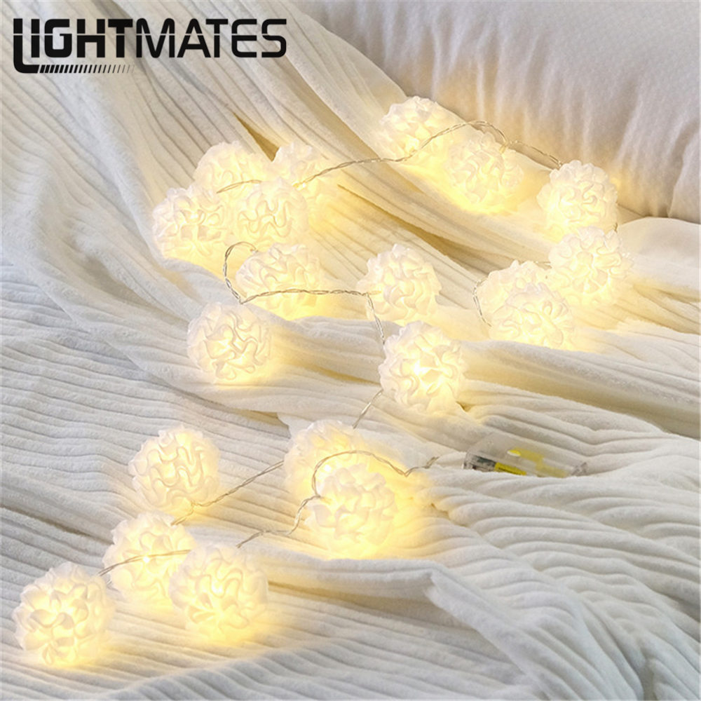 LIGHTMATES New led battery light string white silk flower silk flower string lamp string room outdoor decoration night light