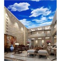 The Living Room Bedroom Ceiling Wall Paper Decoration Custom Ceiling Wallpaper 3D Blue Sky White Clouds