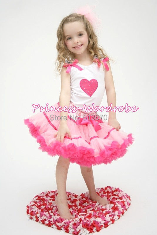 Valentine Hot Pink Heart White Top Light Hot Pink Trim Girl Pettiskirt Set 1-8Y MAPSA0204 дрофа медиа