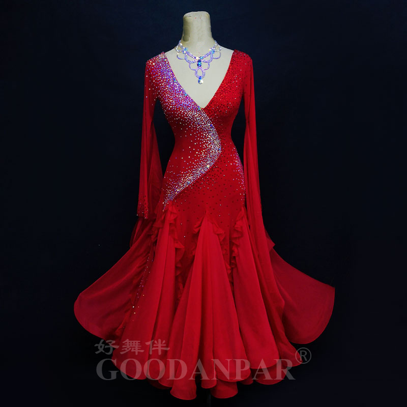 Ballroom Dance Competition Dress Standaard Dance Dress Ballroom Dancing Gown New Style Color Red Good Quality Ballroom Dancewear