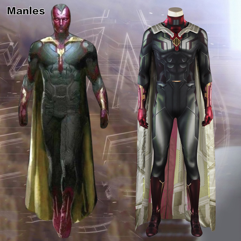 Avengers Infinity War Costume Man Vision Cosplay Superhero Outfit Halloween Suit Adult 3D Shade Men Clothes