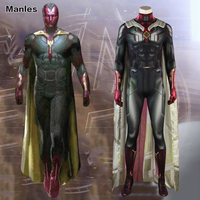 Avengers Infinity War Costume Man Vision Cosplay Superhero Outfit Halloween Suit Adult 3D Shade Men Clothes Jumpsuits Cloak