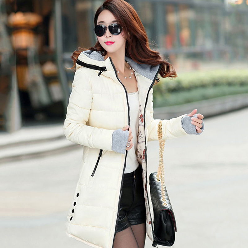 2019 Feminina Candy Color Cotton Padded   Basic     Jacket   Female Medium-long Jaqueta Women Winter Hooded Warm Coat Slim Plus Size