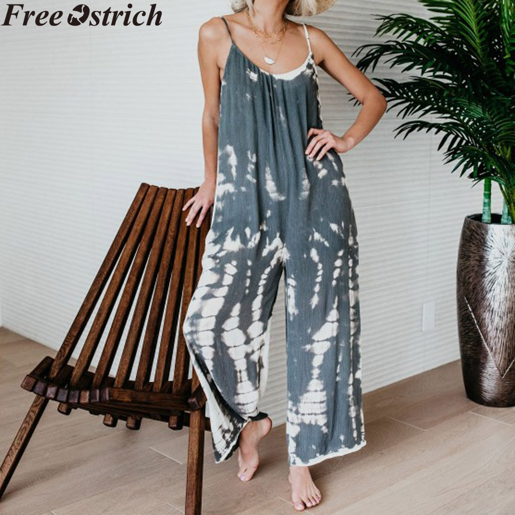 Women Summer Loose Wide Legs Jumpsuit Sling Long Sleeveless High Waist Plus Size bodysuit Ladies Print O-neck Casual Rompers