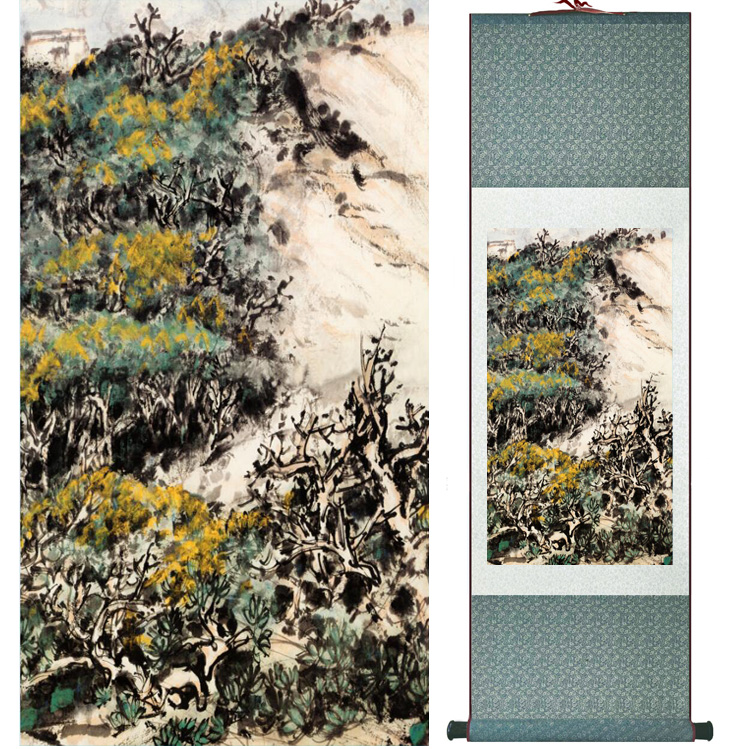 landscape painting Home Office Decoration Chinese scroll painting mountain and River paintingPrinted painting042404
