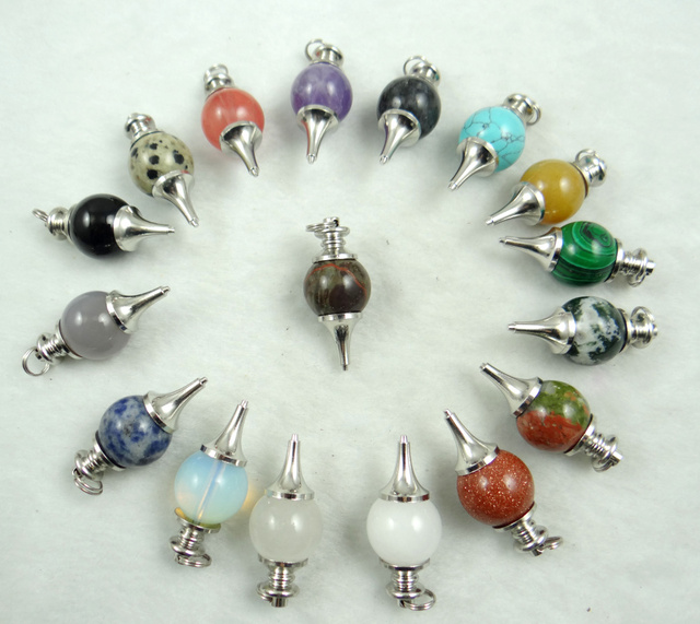 Handmade Healing Crystal Natural Crystal Onyx Pendulum Necklace Dowsing Amulet Gem Stone Pendant Necklaces