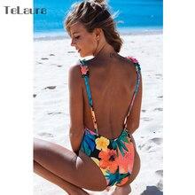 2018 Sexy One Piece Swimsuit Hollow Out Swimwear Women Monokini Print Bodysuit Bandage Brazilian Vintage Bathing Suit Beach Wear