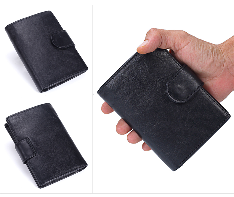 couro genuíno curto carteiras masculino multifuncional bolsa