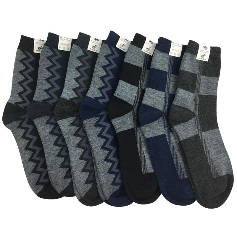 10 Pairs Men Long   Socks   Jacquard Design Practical Durable Shaping Cotton Men   Socks   Spring Winter Comfortble Male   Sock   Meias Crew