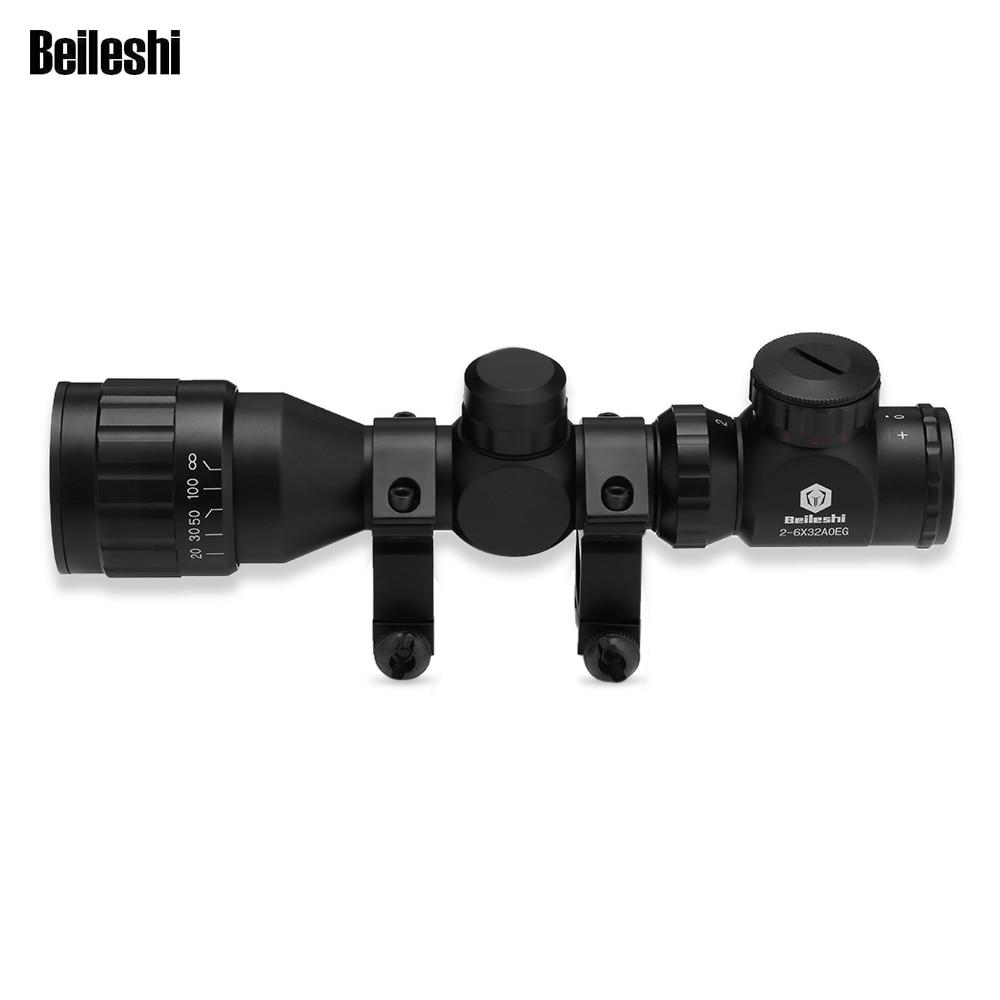 20mm Rail Mount 2 - 6 X 32AOEG Riflescope Telescope Binocular Fast Optical Sight For Tactical Gun Accessories Hunting Camping