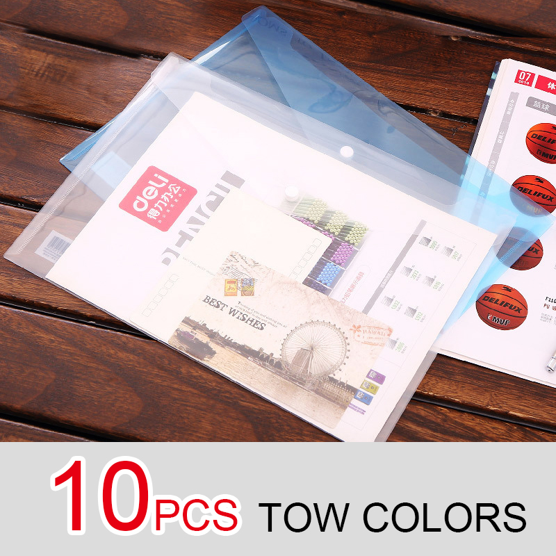 10 Pcs Transparent Plastic Closure Folder Documents Bag A4 File Cover Business And School Filing Products Wholesale Deli 5505