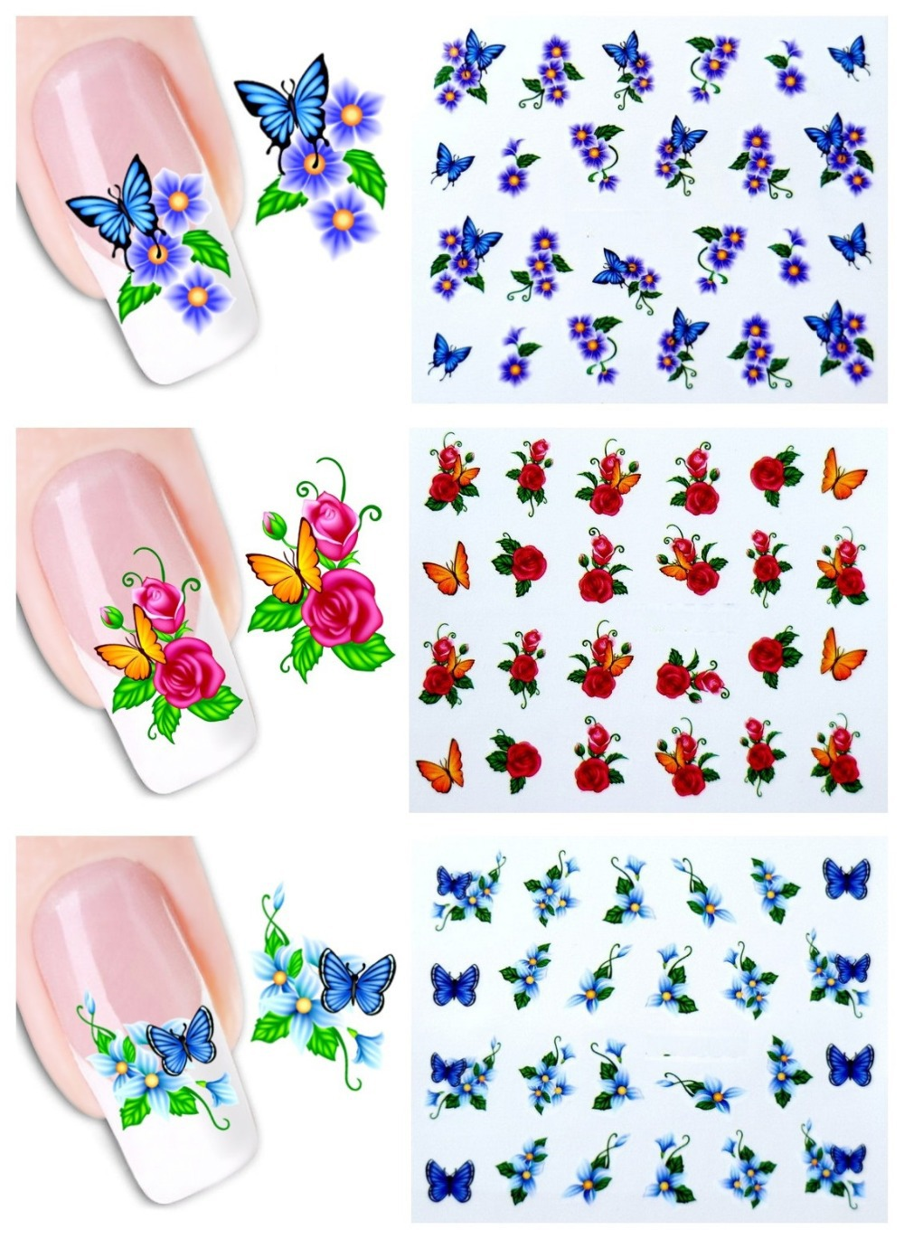 50sheets Watermark Beauty Y Diy Nail Art Water Transfer Stickers Flower With Erfly Tips Decals Tools Setxf1051 1100 In From