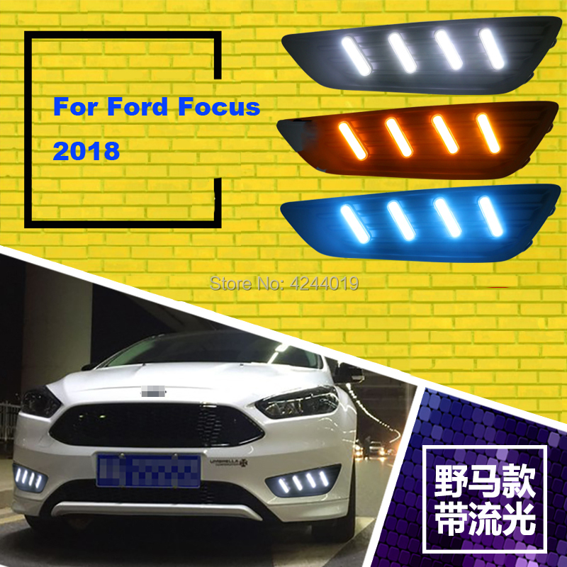 Fits 2018 Ford Focus Day Light Fog Lights Fog Lamps LED Driving Light DRL Daytime Running Lights Yellow Turn Signal tcart drl headlights with turn signal lights for ford mondeo 2013 2016 daytime running light auto led day driving fog lamp page 5