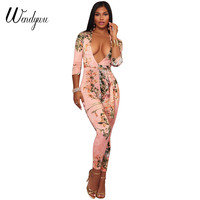 Wendywu New Sexy Deep V Neck Long Sleeve Floral Printed Pink Bodycon Long Jumpsuit with Sashes