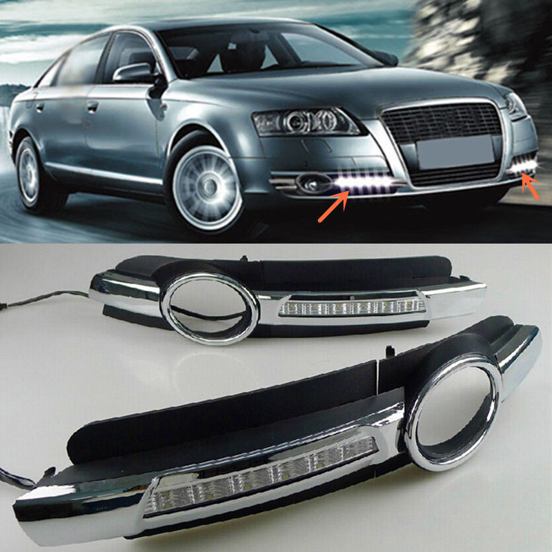 White LED Daytime Running Light DRL Front Fog Lamp for chrome Audi A6 A6L C6 2005 2006 2007 2008 car styling for audi a6 c6 4f 2004 2005 2006 2007 2008 6 leds drl led daytime running lights car fog cover bumper light