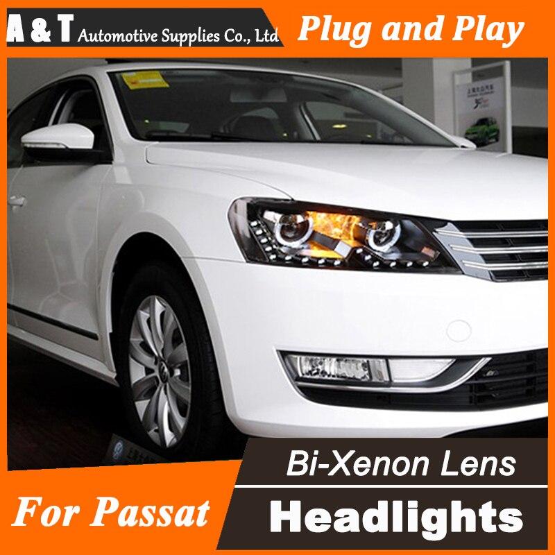 Car Styling for VW Passat Headlights Passat B7 LED Headlight US DRL Lens Double Beam H7 HID Xenon bi xenon lens  union styling for vw scirocco headlights bi xenon led scirocco headlight drl lens double beam h7 hid car accessories hid kit