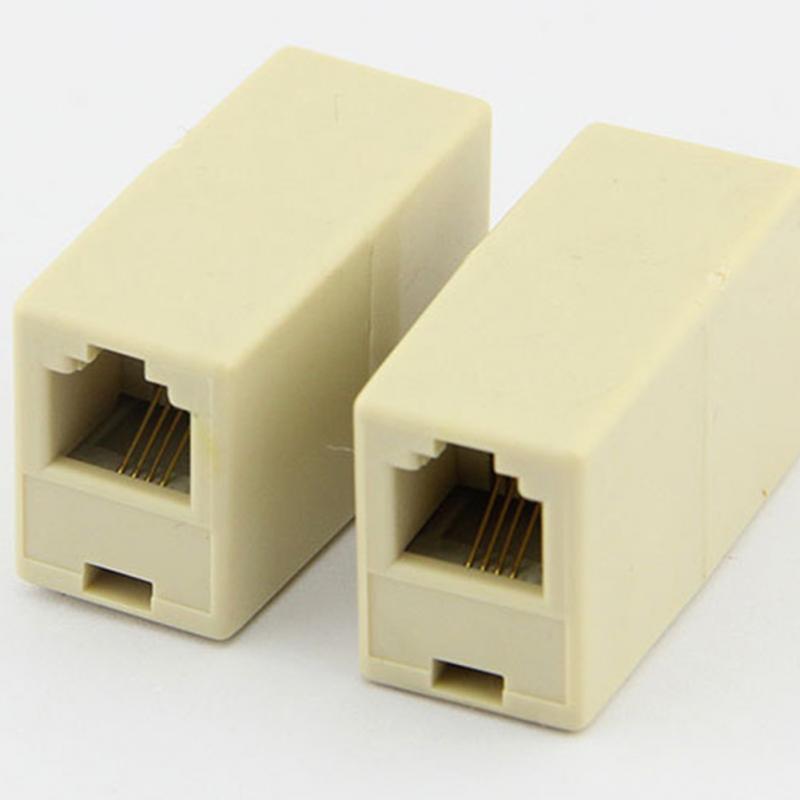 Promotion! 1 Pcs RJ11 Double Ports Female Plug Telephone Connector Line Splitter Extender Plug Adapter