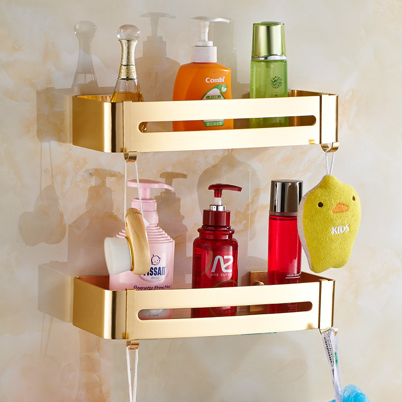 Gold corner shelf Aluminum Bathroom cosmetic rack with single lever ...