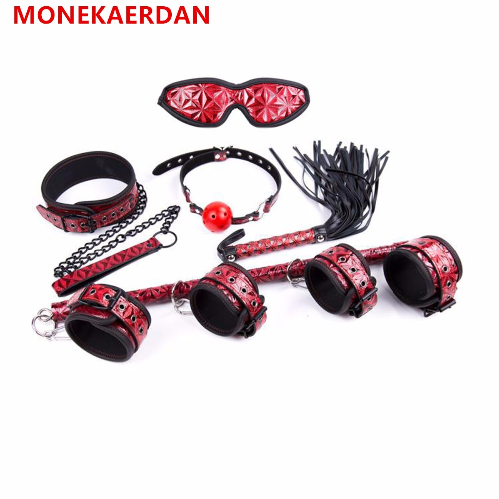 BDSM Bondage Sex Products Dog Collar Slave Wrist Ankle Cuffs Eye Mask Whips Flogger Mouth Ball Gag In Adult Games For Couples adult games removeable fun headgear eye mask goggles penis mouth bite combination of sex toys