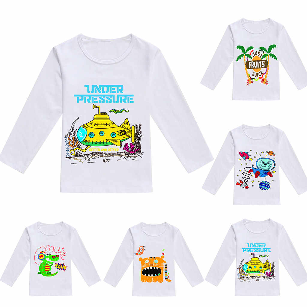 Весенние топы с рисунком для маленьких мальчиков и девочек; футболка; повседневная одежда