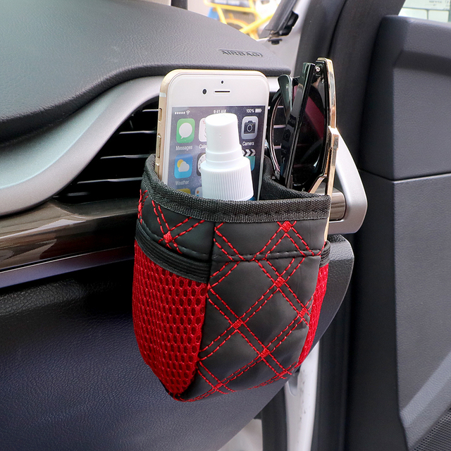 Universal Red Grid Net Car Outlet Storage Bag Phone Holder Pocket Organizer Car Styling Auto Assessories 2