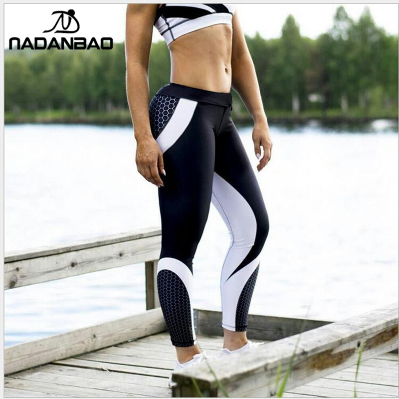 Image 2 - NADANBAO New Arrival Pattern Leggings Women Printed Pants Work Out Sporting Slim White Black Trousers Fitness Leggins-in Leggings from Women's Clothing