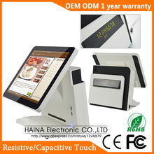 True Flat POS Machine 15 inch Touch Screen POS System All In One PC With Parallel Port