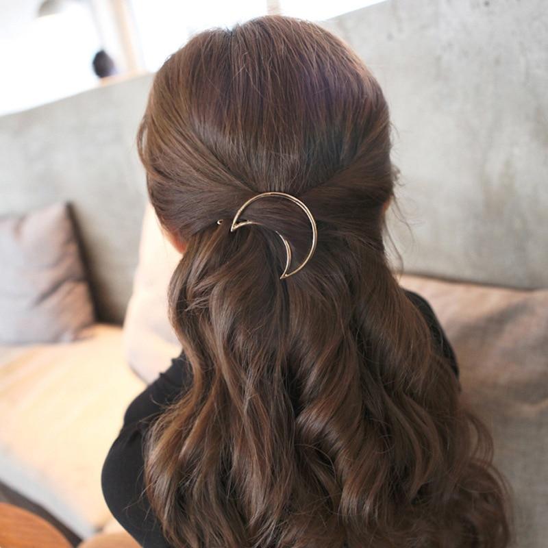 Fashion Geometric Mental Hairpins for Girls Triangle Moon Hair Pin Lip Round Star Hair Clip for Women Barrettes Hair Accessories 3