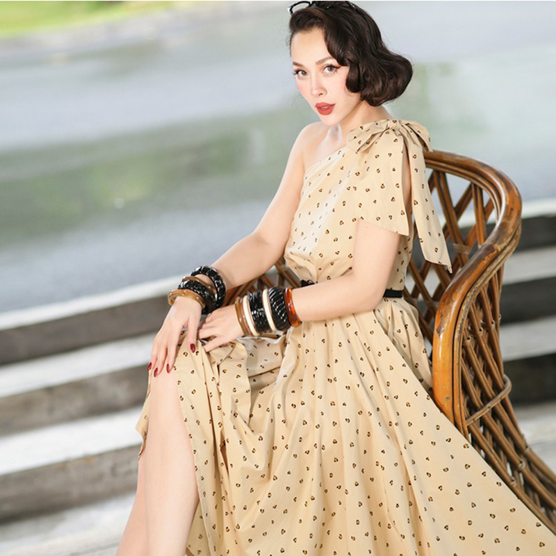 Le Palais Vintage Leopard Dress One Shoulder Adjustable Wide Straps Big A-line Dress Slim High Rise Dress 2019 Summer