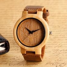 Уникальный Лось Олень Циферблат ручной Природы Деревянные Часы с Натуральная Кожа Группа Свет Бамбука Наручные Часы для Мужчин Reloj де-мадера