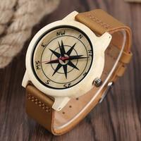 Fashion Nature Sandalwood Bangle Genuine Leather Band Creative Watches Men Sport Bamboo Casual Handmade Wristwatch Relogio