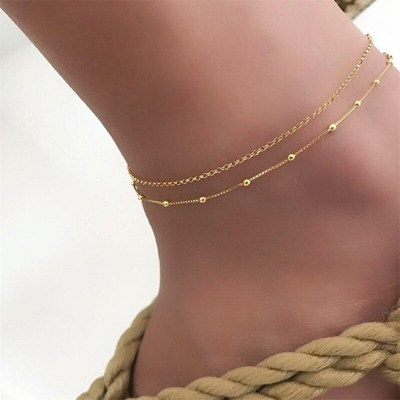 Ufavoirte Women multi-layered Beaded Silver Anklet Hemp Rope/bead Foot Chain Ankle Bracelet Barefoot Sandals Summer Jewelry