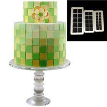 VOGVIGO 3 pcs Geometry Square Grid fondant cookie cutter cake mold decorating tools Baking Moulds
