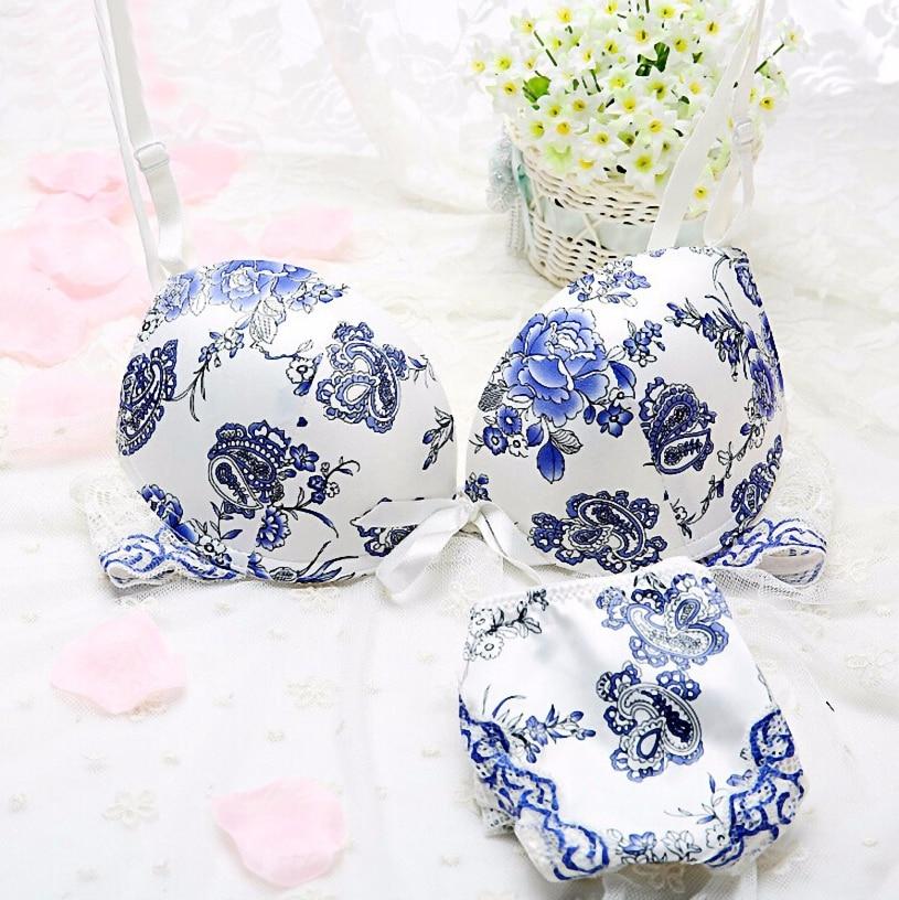 Wholesales or Retails Free shipping Elegance Womens <font><b>Sexy</b></font> Satin <font><b>Floral</b></font> Print <font><b>Bras</b></font> & Panties <font><b>Lace</b></font> <font><b>Bra</b></font> Set 32 34 36 38 C Blue <font><b>Pink</b></font>