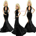Сексуальный черный пайетки фиштейл платье ну вечеринку платье принцесса одежда для Barbie кукла лучший подарок