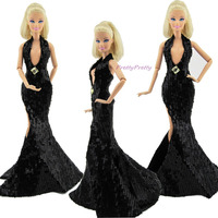 FREE SHIPPING Fashion Sexy Black Paillette Fishtail Dress Wedding Party Gown Princess Clothes For Barbie Doll Accessories Gift