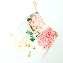 6pcs/lot Romantic flower series Small Cards gold line gift card message Greeting Card Birthday Gift Message 10.7X5.7CM
