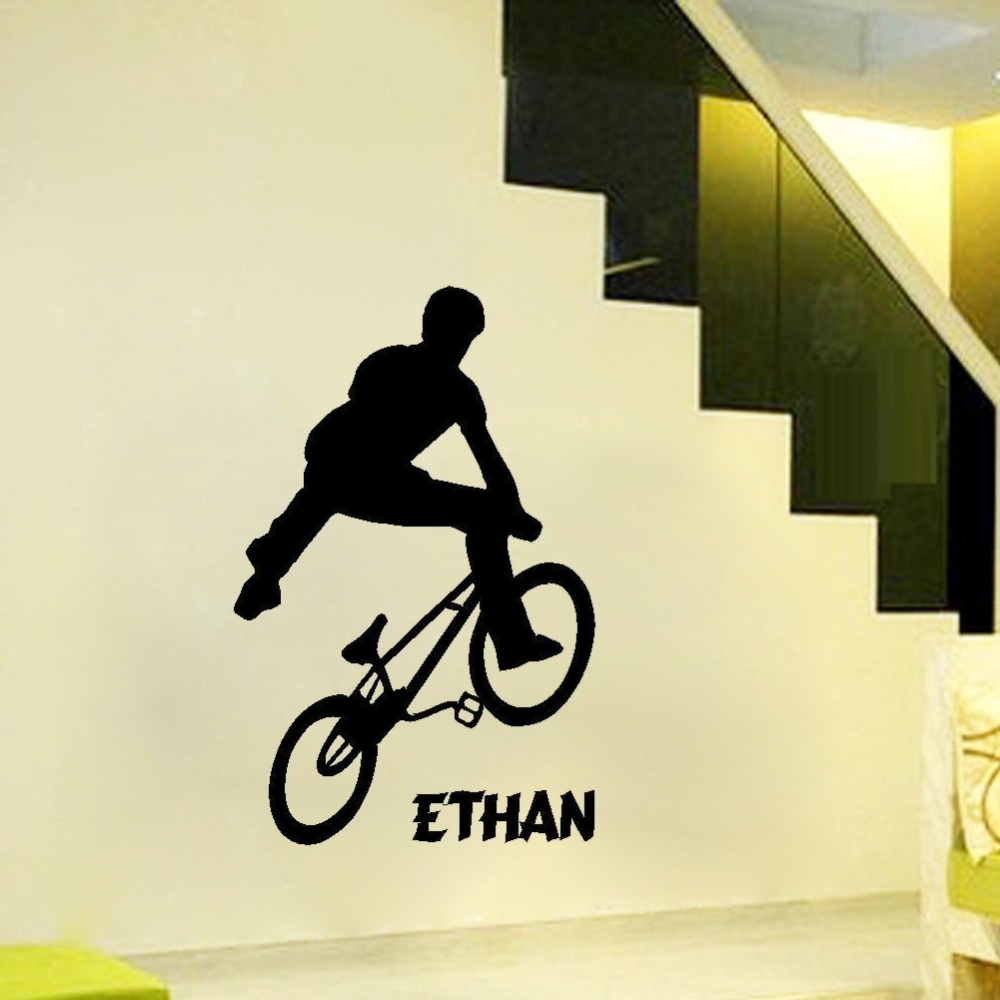 PERSONALISED BMX TRICK TEENAGE WALL ART BEDROOM STICKER CUSTOM MADE ...